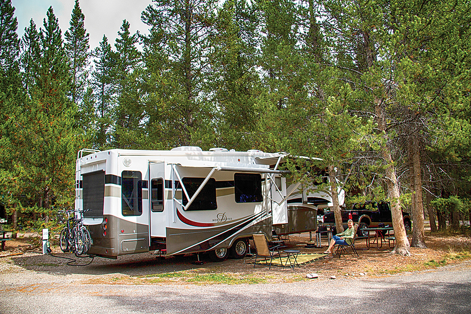The pine-shaded campsites in Colter Bay Village RV Park are both beautiful and spacious.