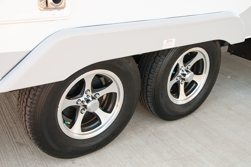 Set of two tires on travel trailer