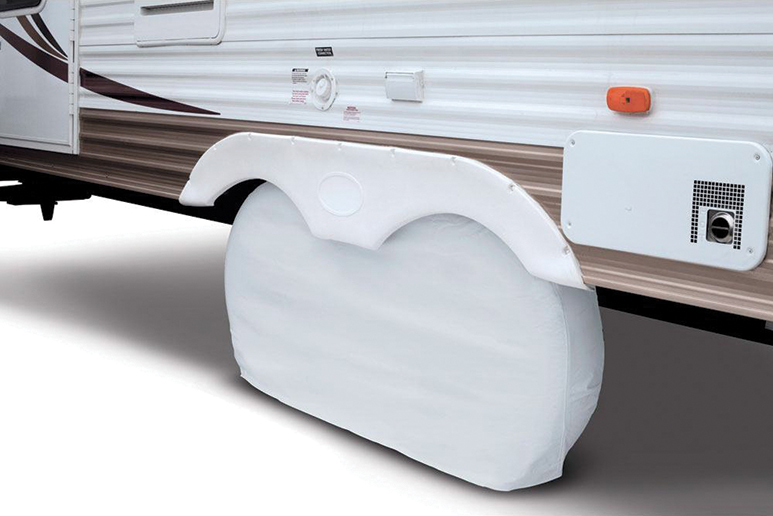 A set of tire covers is a good investment and should be put on when the RV sits in one place for a long time.