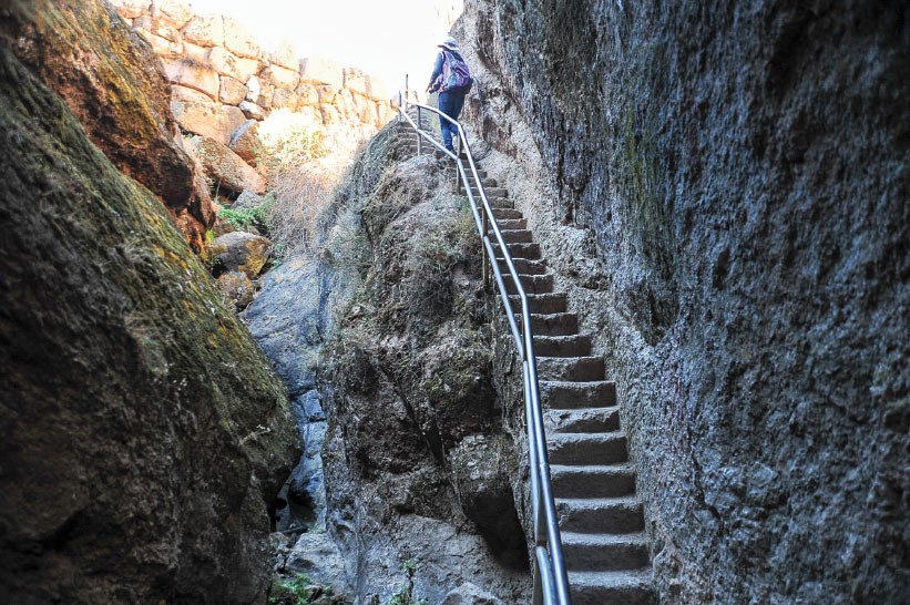Many of the park's 30 miles of trails were constructed by the Civilian Conservation Corps in the 1930s and are feats of engineering with narrow cave passages and rocky staircases.