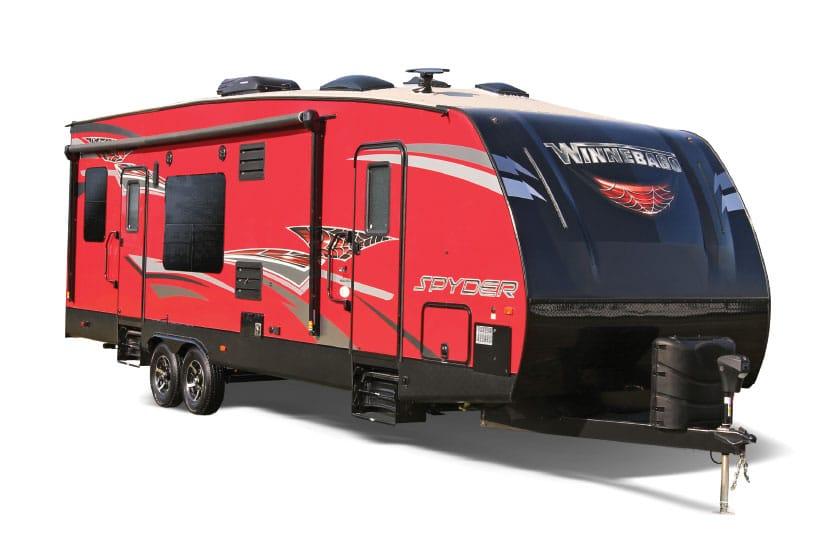 Red and black Winnebago Spyder fifth wheel