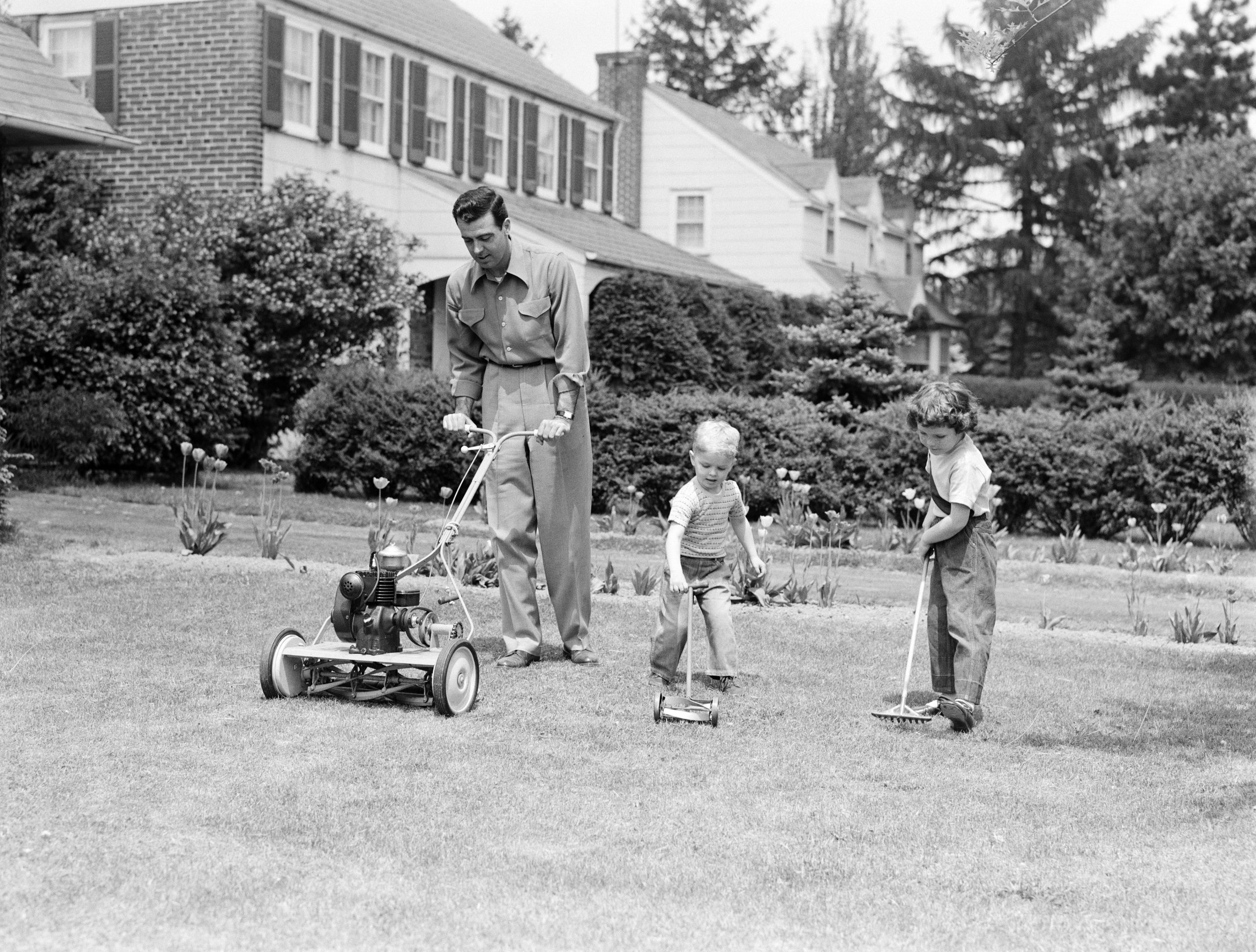 Father cutting lawn with power mower, two boys using toy rake and mower.