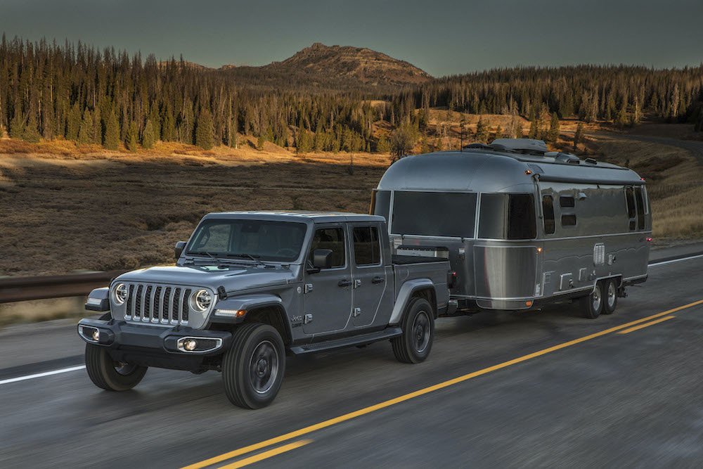 2020 Jeep® Gladiator Overland towing an airstream