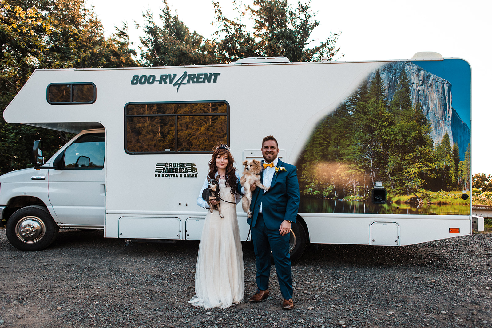 Adventure Elopement couple with RV rental. Image: The Foxes Photography