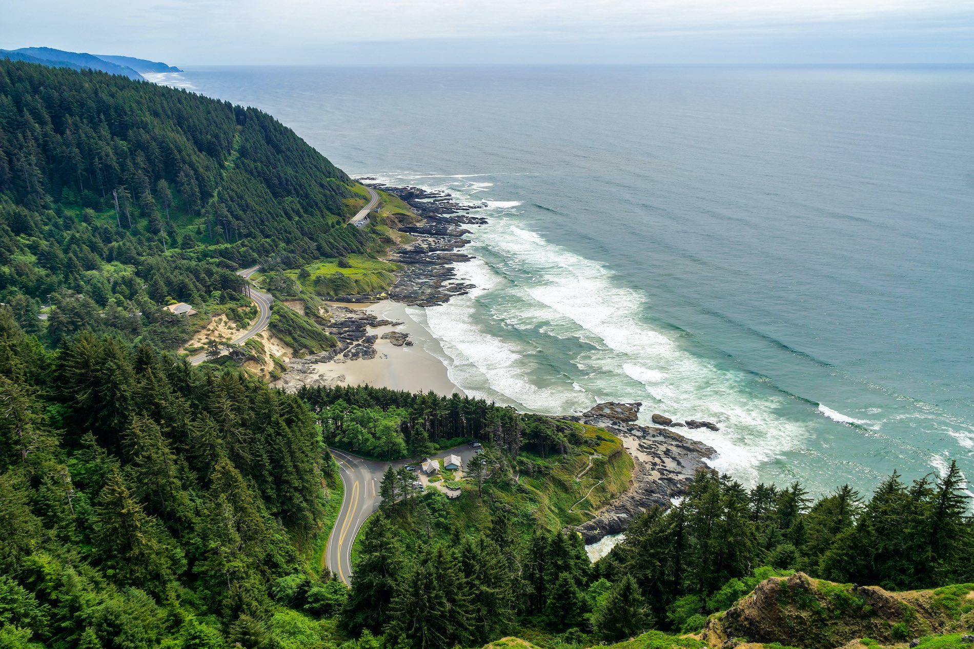 Cape Perpetua Scenic Overlook. Aerial view of the Cape Perpetua coastline from the Devils Churn to the Cooks Chasm, Yachats, Oregon coast, USA.