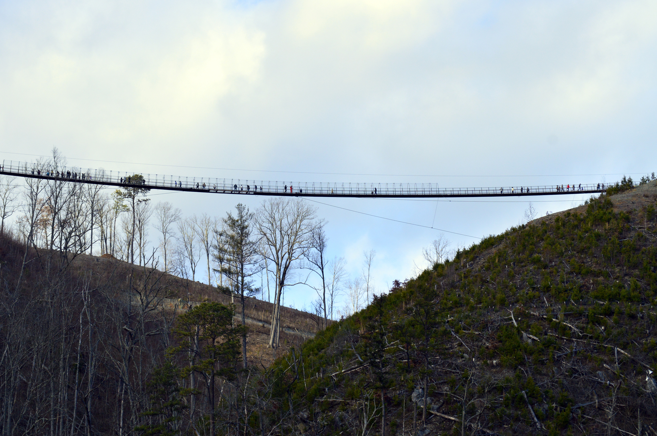 Gatlinburg pedestrian suspension bridge tourist attraction