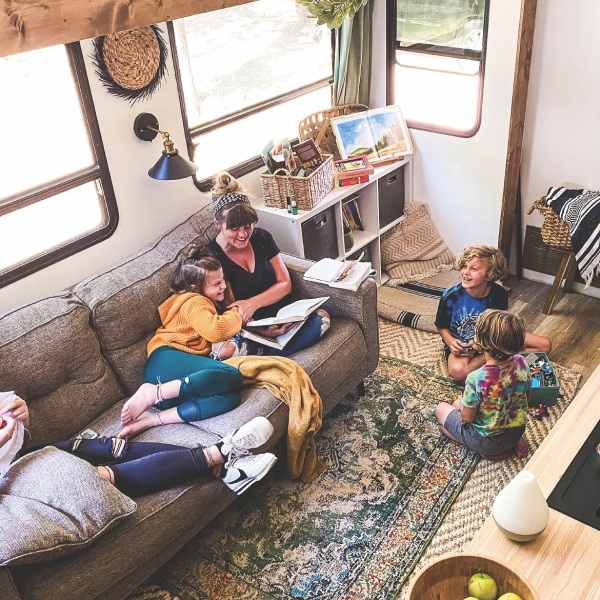 Lane Less Traveled family learning on the road in their remodeled RV