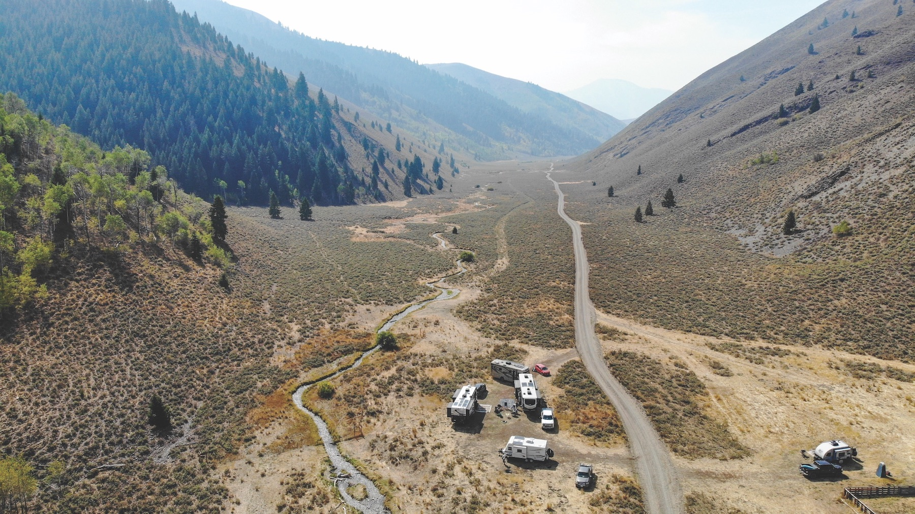 Aerial shot of Boondocking on BLM land.