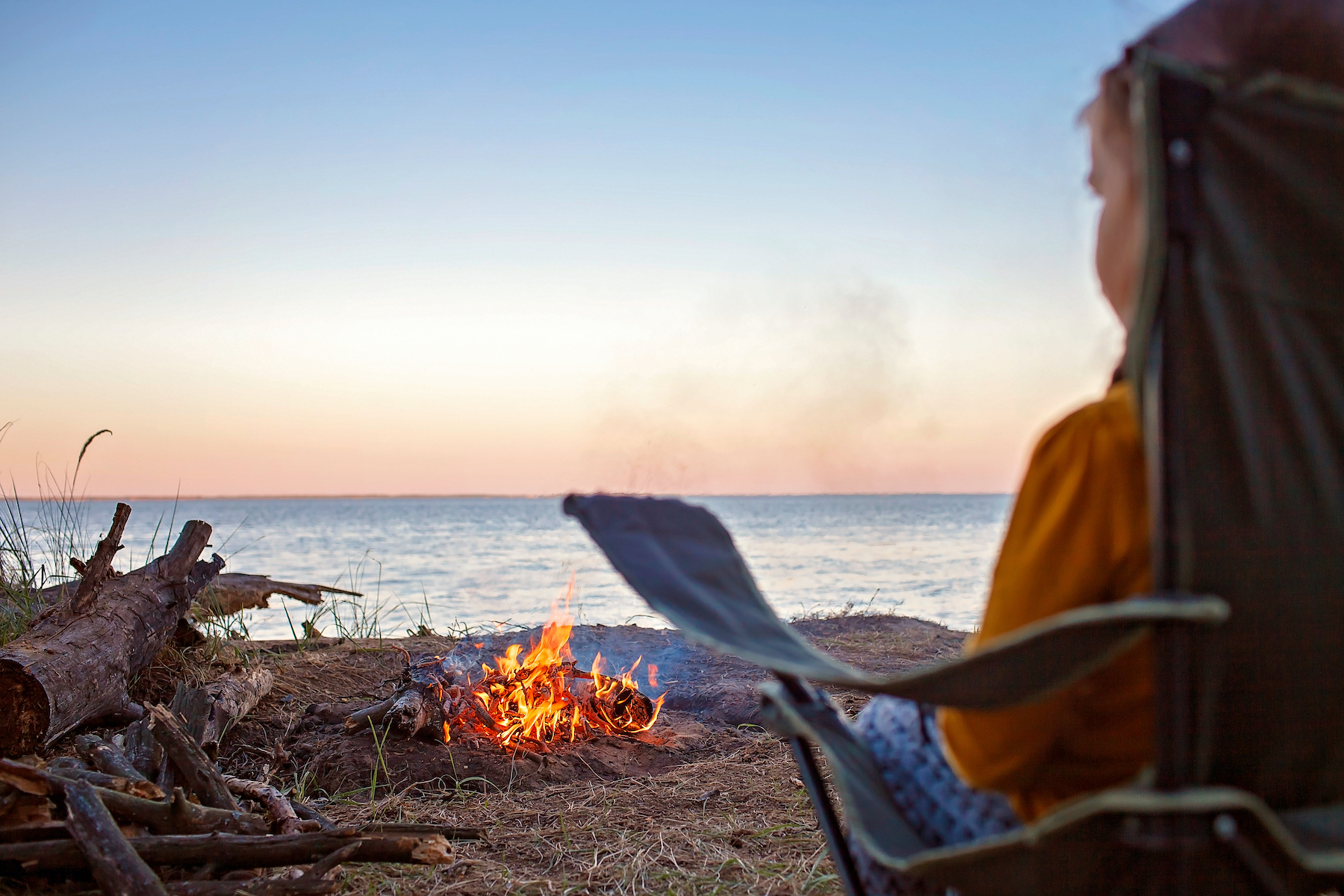 Kid at Campfire