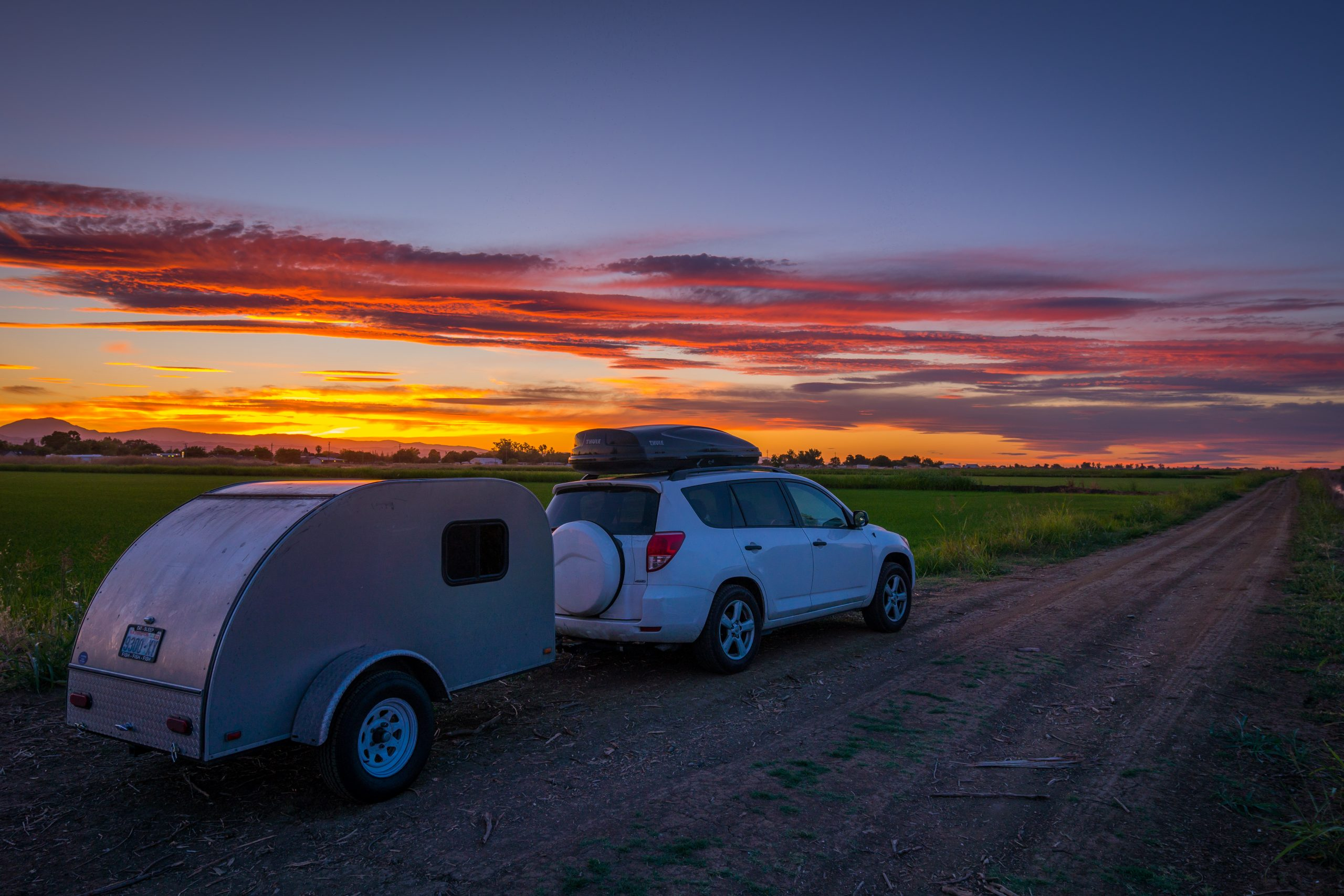 Towing Camper Sunset
