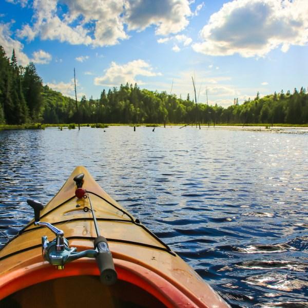 fishing rod on a kayak
