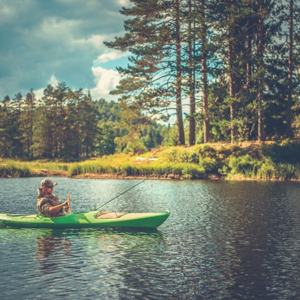 A Man Kayak Fishing