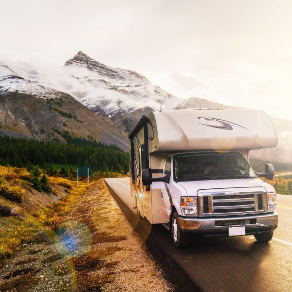 RVing In The Mountains In Class C Motorhome Landscape At Sunset in Jasper, AB, Canada