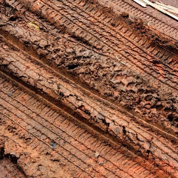Tire tracks in mud