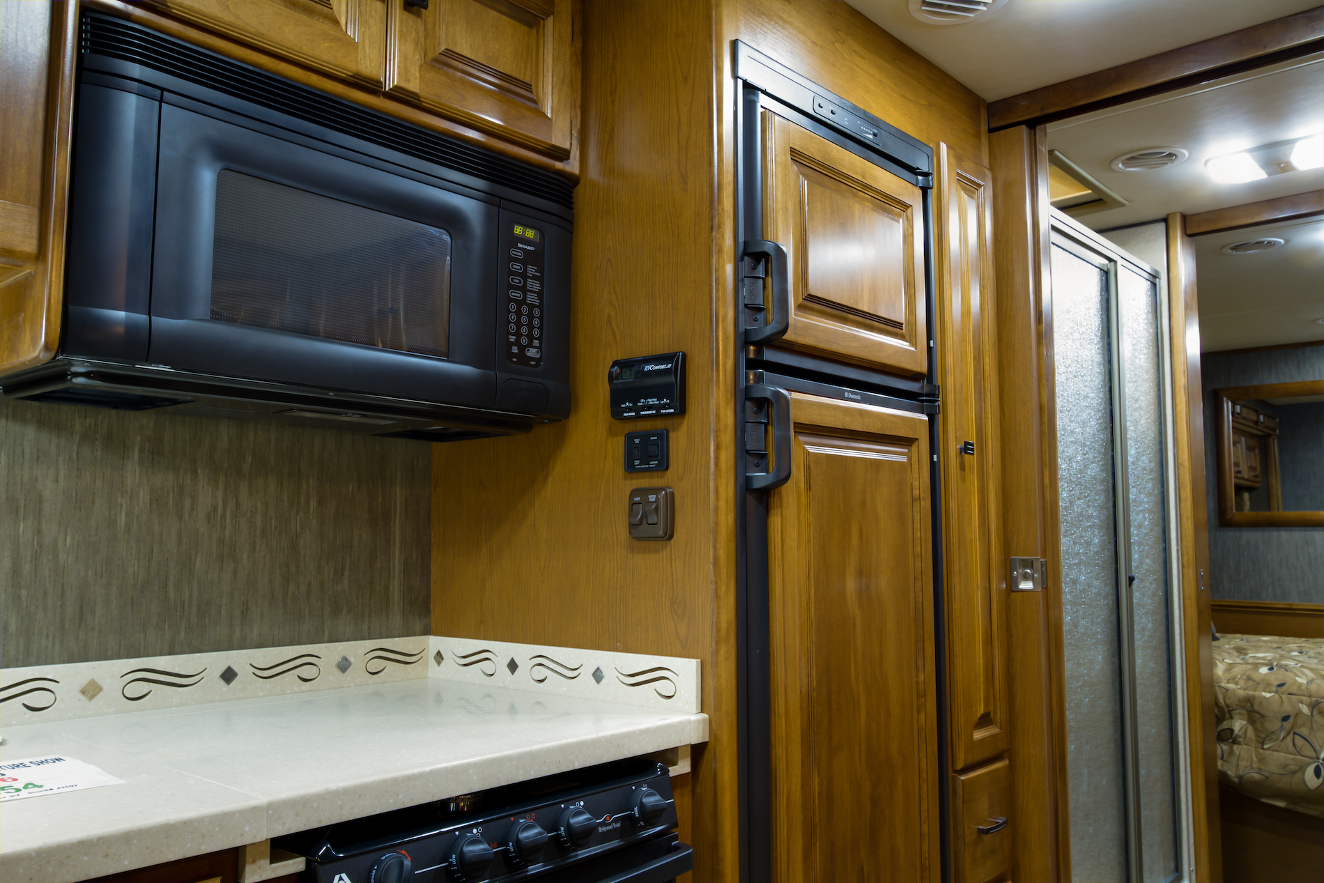 RV kitchen cabinets and countertop