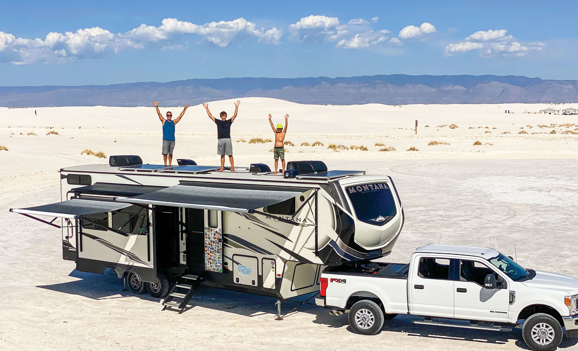 Crazy Family Adventure on top of their RV
