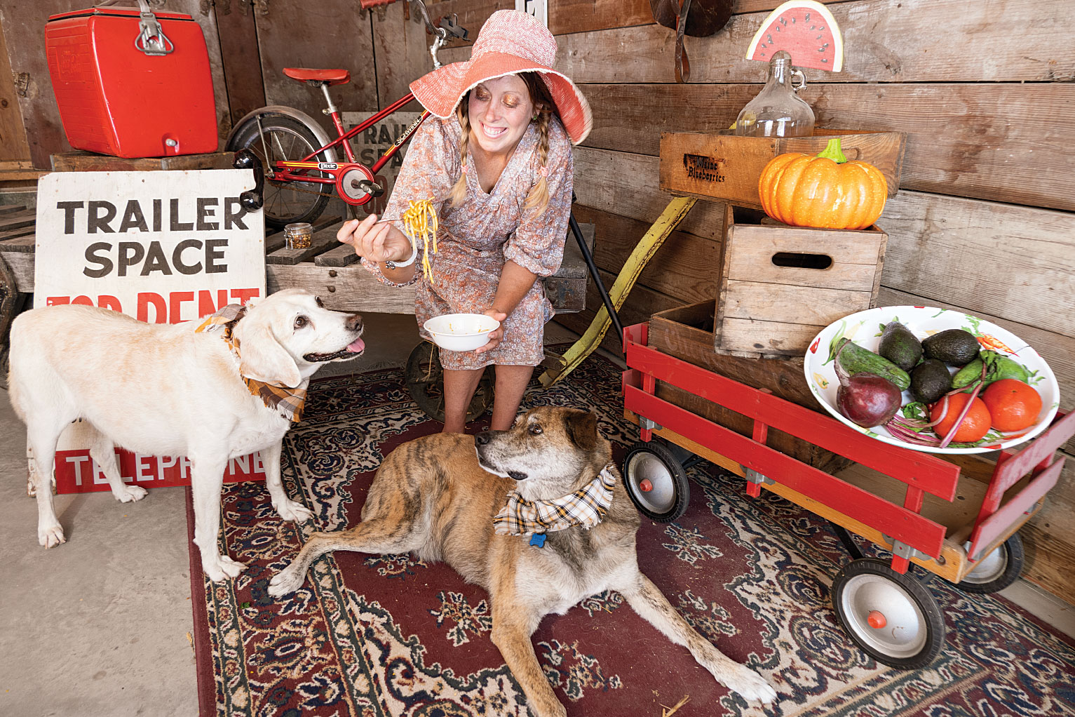 Rachael Johnson and her two dogs.