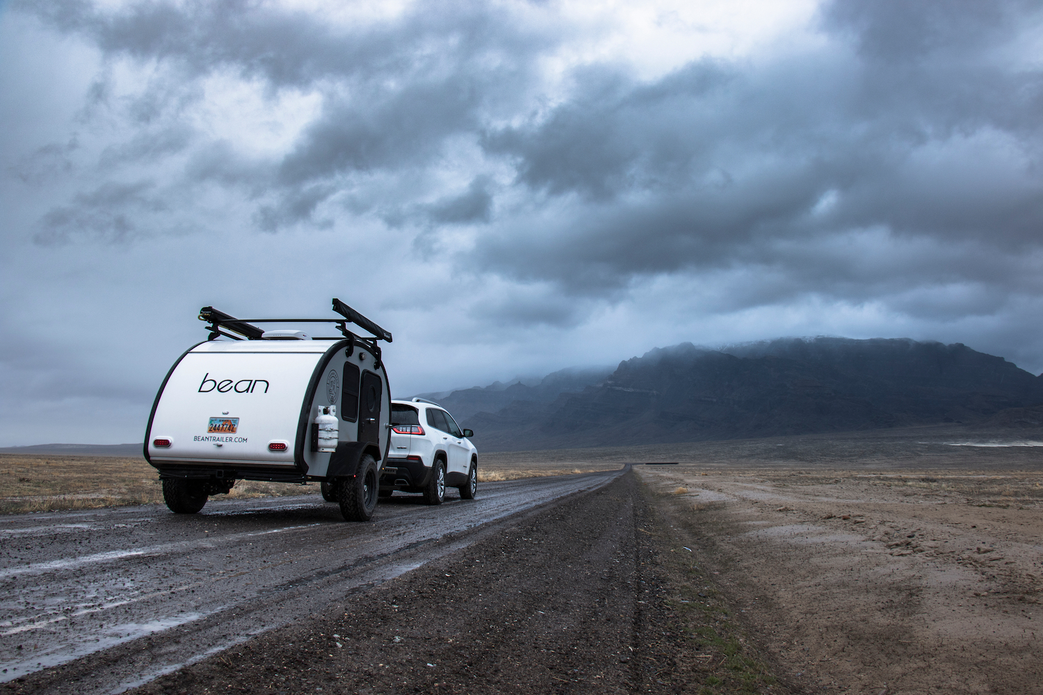DESERET, UTAH / UNITED STATES - March 5, 2019: Storm Chasing with a Teardrop Trailer