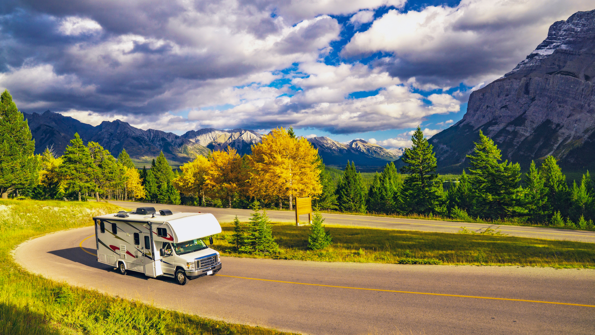 Autumn RV Motor home Camper On Scenic Highway