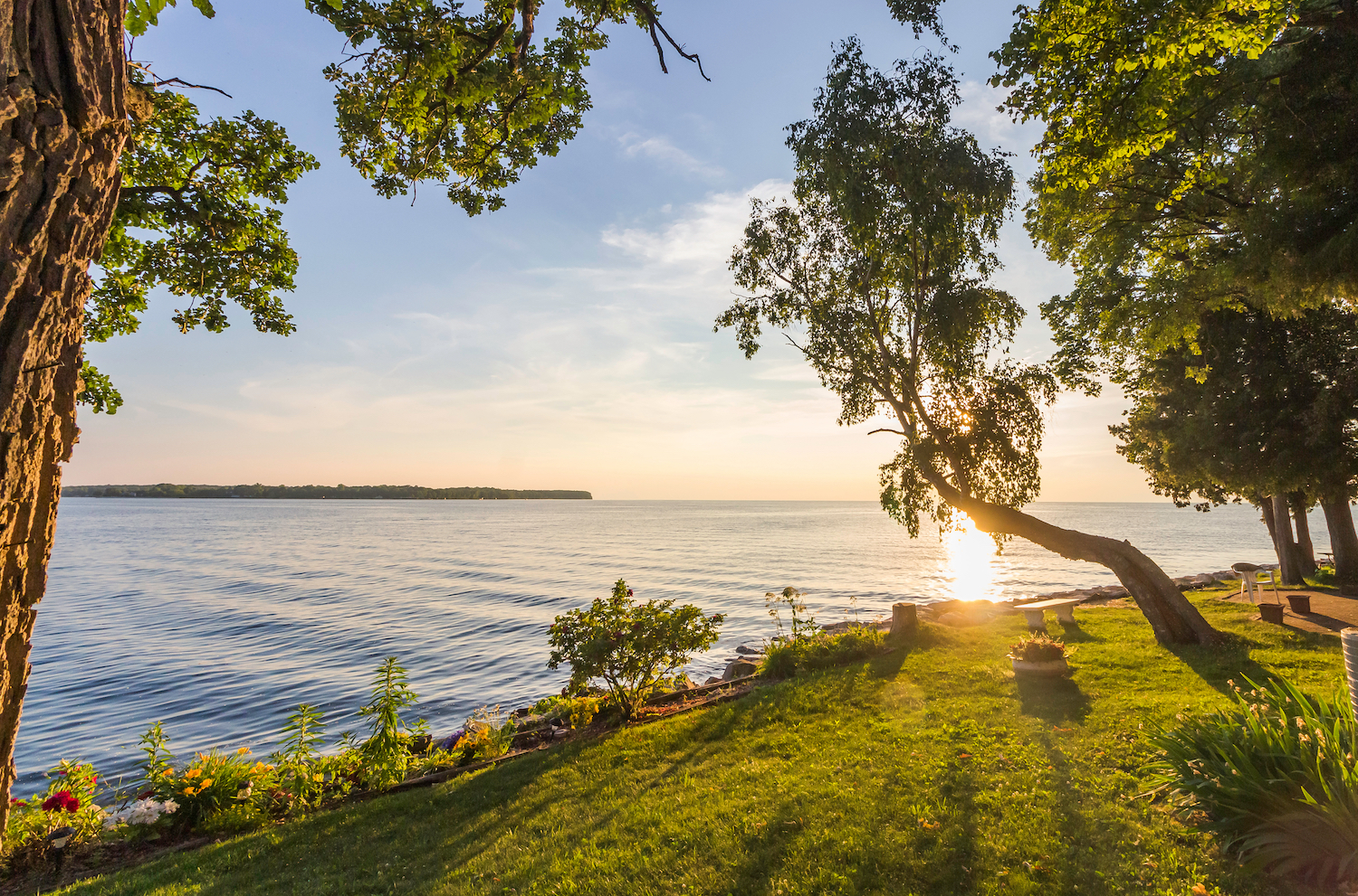 Sunset Over Lake Michigan and Garden Landscape
